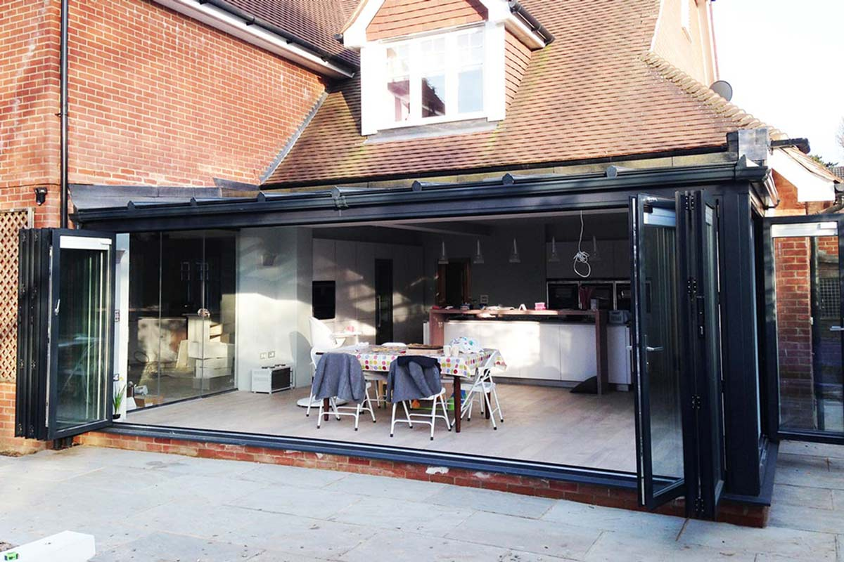 black Visofold 1000 aluminium bi-fold doors in Tunbridge Wells Kent